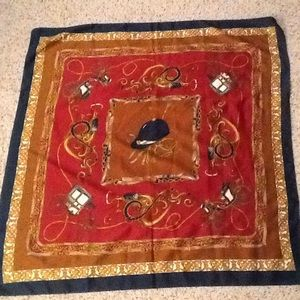 EQUESTRIAN RIDING SILK SQUARE SCARF GORGEOUS! NWOT